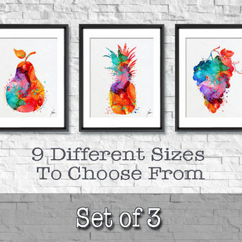 Fruits Watercolor Art Print, Fruit Watercolor Art Painting, Apple Poster, Kitchen Decor, Home Decor, House Warming Gift, Wall Art, Item 336