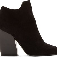 Black Suede Stacked Ankle Boot