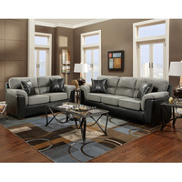 Exceptional Designs Living Room Set in Laredo Graphite Microfiber