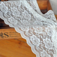 Stretchy Soft White Wide Lace Fabric Trims Sewing Supplies for Wedding Veil DressMaking
