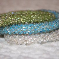 White, Blue and Green beaded bangles- elastic