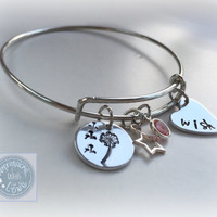 Make a Wish dandelion expandable charm wire bangle hand stamped adjustable bracelet.