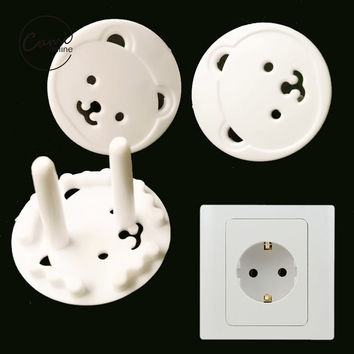 10 Pcs 2 Hole Sockets Cover Plugs Cute Bear Pattern Electrical Safety Protector Kids Children Electrical Sockets Protection Caps