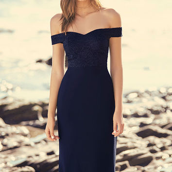 Dress to Impress Navy Blue Lace Off-the-Shoulder Maxi Dress