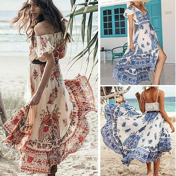 2017 New Fashion Women Summer Clothing Skirts Vintage Boho Long Maxi Evening Party Beach Sundress Floral Skirts