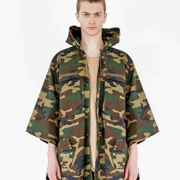 Kengi Cotton Poncho in Woodland Camo