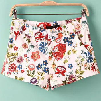 White and Red Floral Mini Shorts