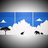 "View: original abstract animal landscape ""Elephants on cloud 9"" blue sky white africa animal elephant painting art canvas african - 48 x 20"" 