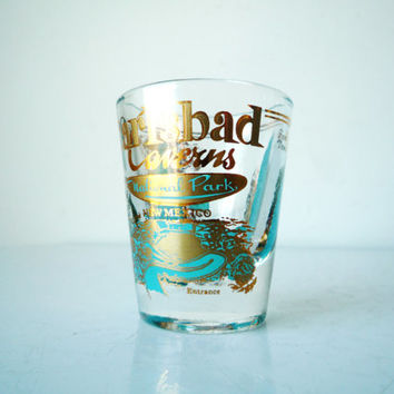 Midcentury Souvenir Shot Glass Carlsbad Caverns National Park New Mexico, Retro Barware, Retro Shotglass, SALE
