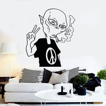 Vinyl Wall Decal Alien Peace Love Smoking UFO Stickers Mural Unique Gift (ig3802)