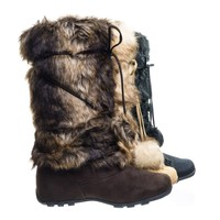 Tara Brown Suede by Blossom,  Mukluk Wrap Around Mid Calf Faux Fur Boots , Women Winter Snow Boot