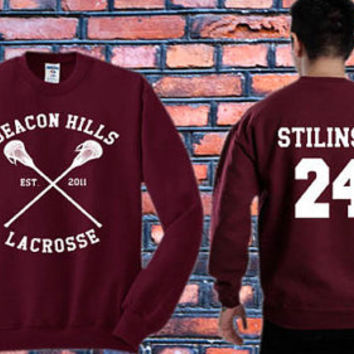 Stiles Stilinski 24 sweater Teen Wolf,Beacon Hills Lacrosse Crewneck Sweater   Available Size S,M,L,XL,XXL color black and white