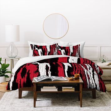 Caleb Troy Crimson Coal Splinters Duvet Cover