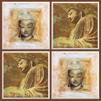 Buddha Coasters, Asian Decor, Cultural, Buddha Head, Home Decor, Ceramic Coasters, Buddhism, Spiritual, Asian, Believe, Enlighten, Brown