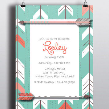 Instant Download-Arrow Tribal Aztec Coral Mint Gray DIY Printable Birthday Party Baby Girl Shower Bridal Wedding Invitation Template