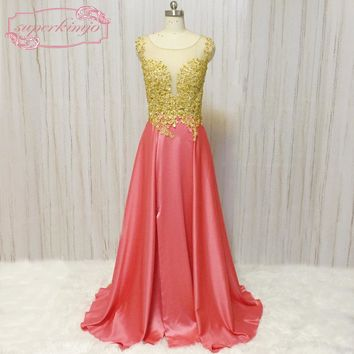 SuperKimJo Vestido De Festa Longo Lace Applique Beaded Prom Dresses Long Coral Backless Sexy African Prom Gowns
