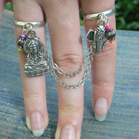 Zen chained double ring  Ganesh Buddha Buddah Indi Moroccan Budist  Yoga double slave ring in fantasy    hipster boho gypsy fusion style