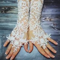 Long Lace Wedding Gloves Shiny Beaded, Lace mittens, Free Shipping, White French Lace Long Gloves, Sophisticated Lace Gloves, Bridal Wedding