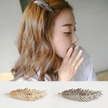 DKLW8 YouMap Fashion Women Lady Gold Silver Plated Leaf Hair Clip Shine Feather Hairpin Barrette Hair Decor Accessories A14R5C
