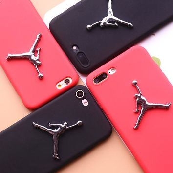 For iphone 6 6plus 6s plus 7 7plus X 8 matte Silicone case plating flyman Michael air Jordan 3D Relief Metal Logo Sports cover