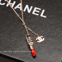 High quality chanel lipstick necklace, bridesmaid gifts, gift sisters friendship