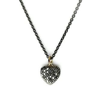 Passione Small Black Diamond Heart Necklace