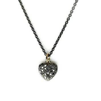 Passione Small Black Diamond Heart Necklace - SALE