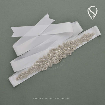 Wedding Belt Sparkling Rhinestone Wedding  Prom Sash Bridal Belt with Ivory Satin Ribbon