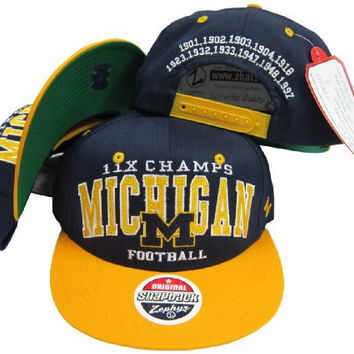 Michigan Wolverines 11X National Football Champs Plastic Snapback Adjustable Hat / Cap