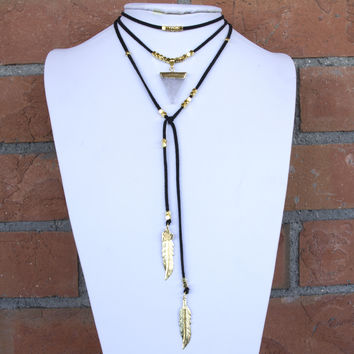 Gold Crystal Beaded Lariat