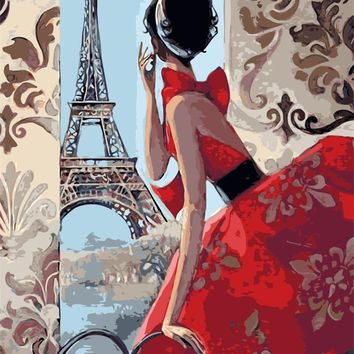 France girl lady under Eiffel Tower Decor digital Painting picture By Numbers Handwork Drawing On Canvas Living Room Wall Art