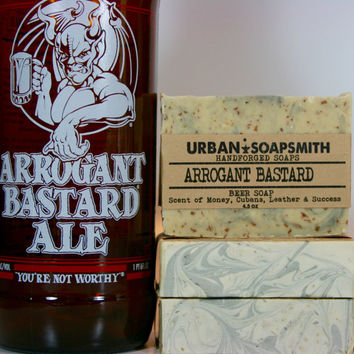 Arrogant Bastard Beer Soap, Men's Soaps, Unisex Soaps, Handcrafted Beer Soap,  Cold Process Soap,  Bar Soaps,