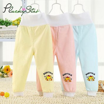 PluckyStar Cartoon High Waist Baby Pants Soft Cotton Boy Girl Home Trousers Cute Animal Print Pants For 6-18M Baby Clothing P03