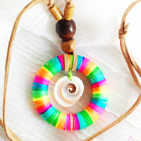 All Natural Mommy Nursing Necklace with Rainbow Ring Pendant and Sea Shell. Designed with Adjustable Leather Suede Cord and Wooden Beads.