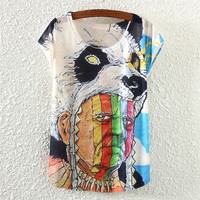 White Short Sleeve Bear Head Cap Print T-Shirt