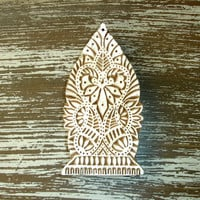 Hand Carved Wood Stamp: Large Indian Printing Block Stamp, Heart Paisley, for Textiles, Ceramics, Pottery, Bohemian Decor from India