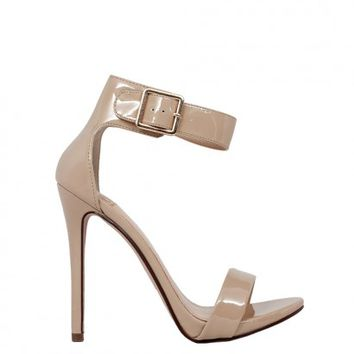 Dangerous 5 Womens Beige Patent Open Toe Sandal High Heel Shoes
