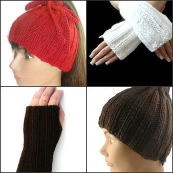 Ponytail Hat Cowl and Fingerless Gloves Set Unisex Handmade Convertible Hat Dreadlock Band Handknit