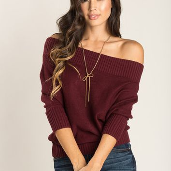 Roxanne Burgundy Off the Shoulder Sweater