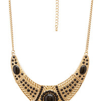FOREVER 21 Out West Bib Necklace Antic Gold/Black One