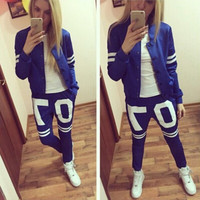 2015 Fashion Womens Zipper Tracksuit +Pants Casual Sportswear Hip Pop Sportsuits Jogging Suits For Women = 5710888513
