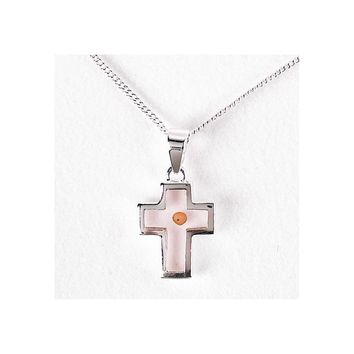 Cherishables Silver-plated Metal Mustard Seed Cross Necklace