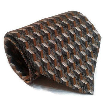 "Elegant Necktie Stafford Executive Men's 100% Silk Tie Diamond 4""x 60.25"" Brown Gold Geometric Necktie Vintage Retro Gift Formal Work Tie"
