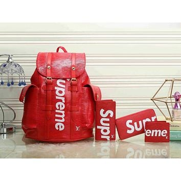 Louis Vuitton LV x Supreme Fashion Leather Backpack Travel Bag Purse Wallet Card Bag Set Four-Piece