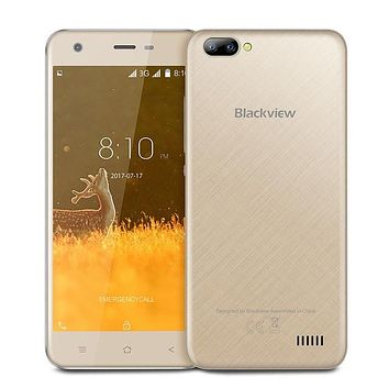 "Original Blackview A7 Smartphone Android 7.0 Dual Rear Cameras MT6580A Quad Core 5.0"" 1GB+8GB 2800mah 5MP 3G WCDMA Mobile Phone"