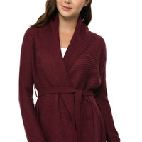 Long Sleeve Open Front Belted Knit Cardigan