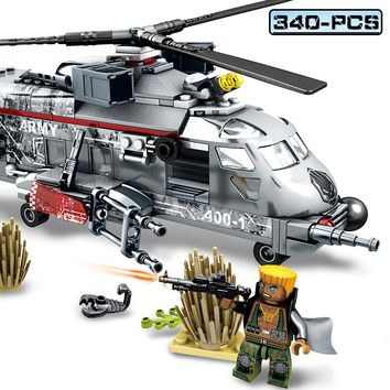 Sembo Blocks 340pcs Military Action Figures Building Blocks DIY Helicopter Forces War Bricks Toys For Children Compatible Legoed