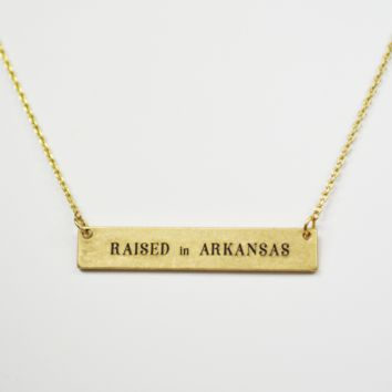 raised in arkansas necklace