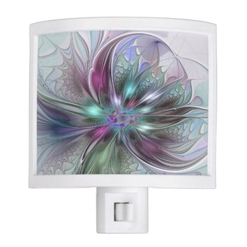 Colorful Fantasy, abstract and modern Fractal Art Night Light