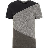 River Island MensGrey block color short sleeve t-shirt